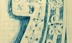 いぬボールペン画