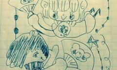 リイリとカロロとくまちゃん扇子ボールペン画