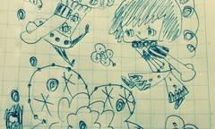 リイリとカロロと四つ葉のクローバーボールペン画